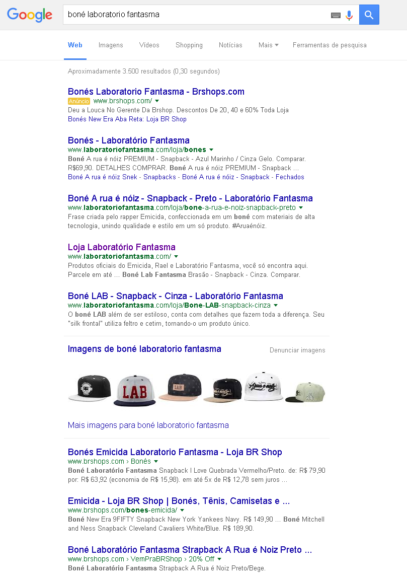resultados do google brshops